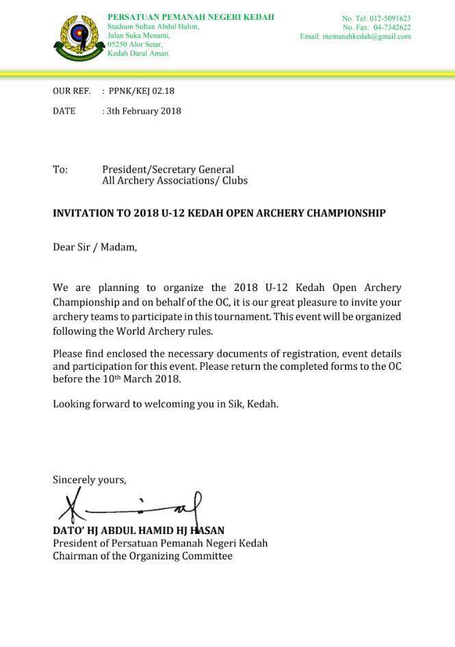 u-12 kedah open archery championship invitation letter