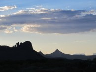 Sixshooter Peak, Needles District, just after sundown. The temperature, thankfully, starts to drop immediately.