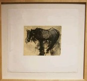 Domingo: Waiting - lithograph and intaglio on waxed mullberry  and chine colle