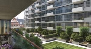 Landscaping CGI of Exterior View U at One Tower Bridge Development