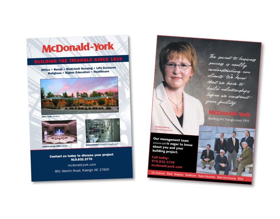 design portfolio piece Two postcards for the York Companies