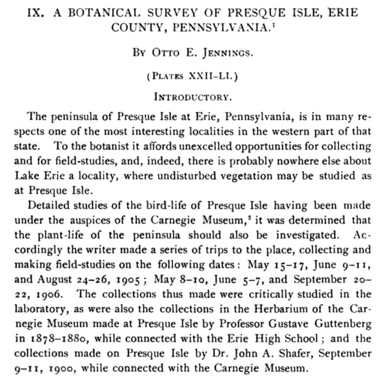 A Botanical Survey Of Presque Isle Erie County Pennsylvania By Otto E Jennings