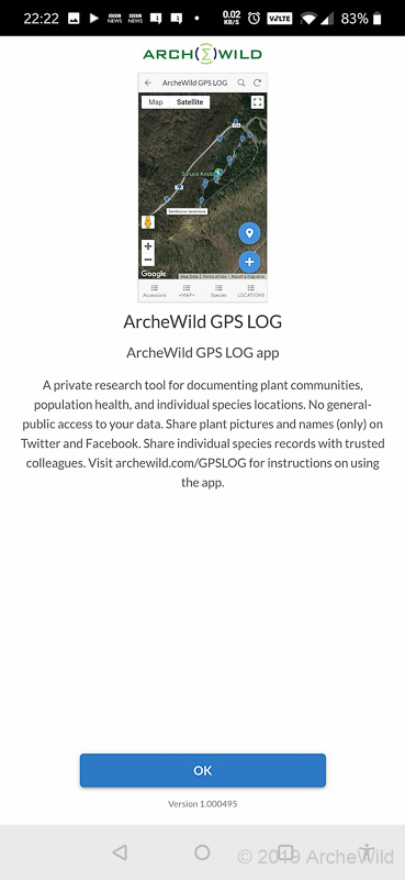 ArcheWild GPS LOG - Launch Page