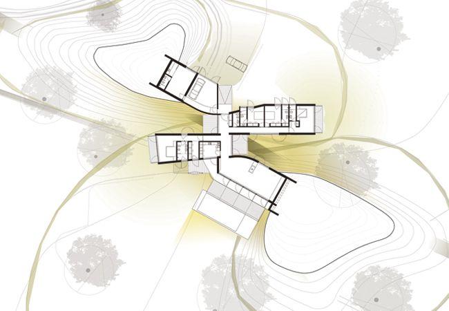 Floor Plan of the Casa Monte House from Pereira Arquitectos