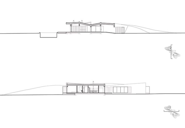 Sections of the Casa Monte Dune House by Pereira Arquitectos