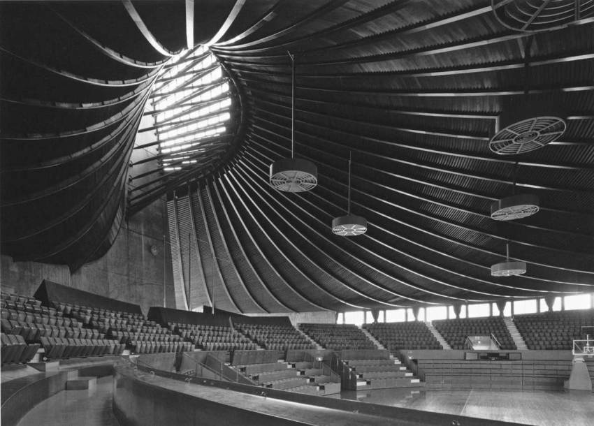 Interior of the National Gymnasium of Kenzo Tange