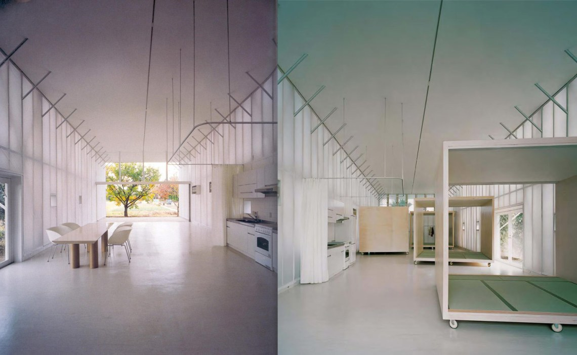 Interior photographs of the white interiors
