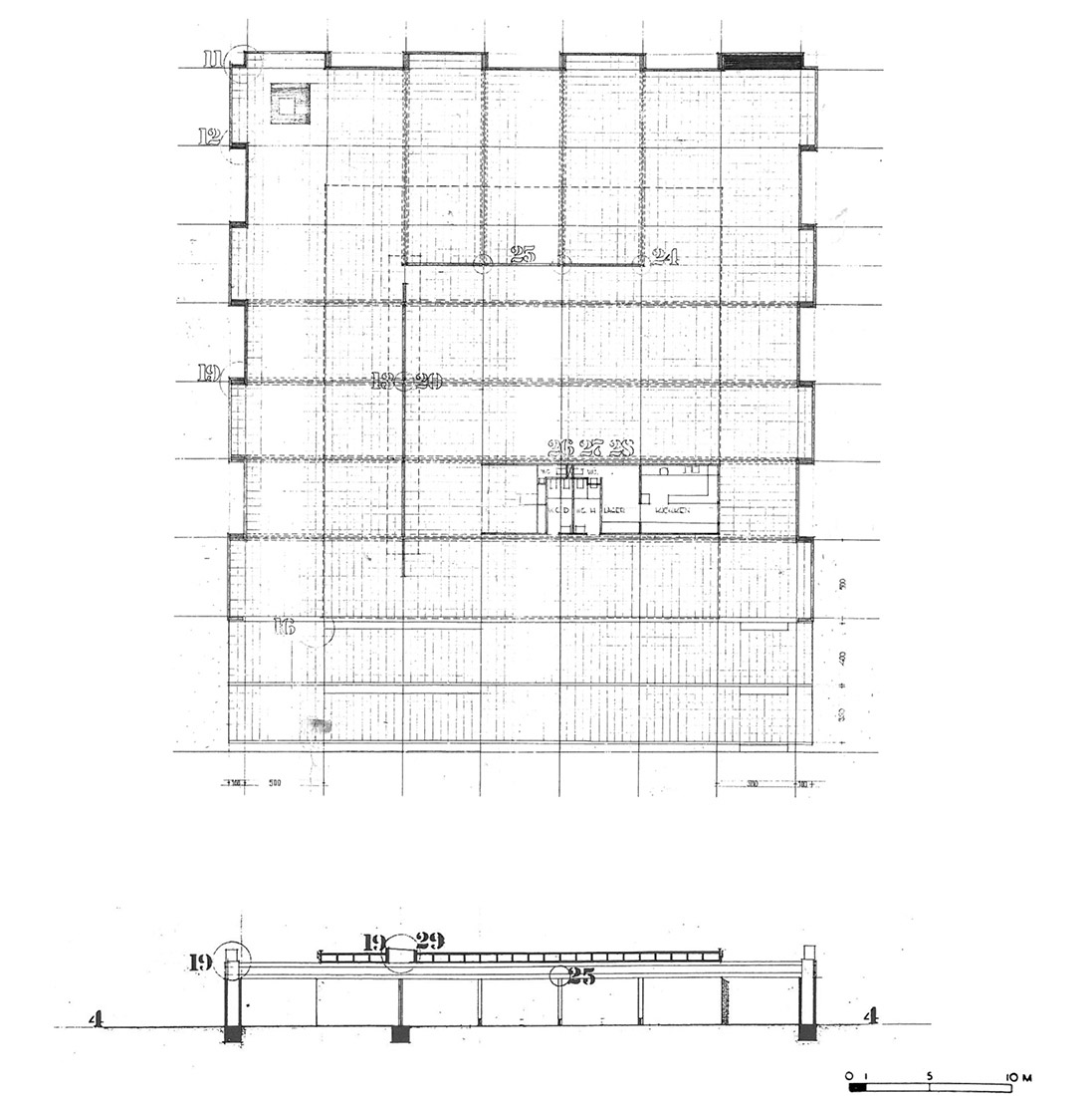 Floor Plan and Section of the pavilion