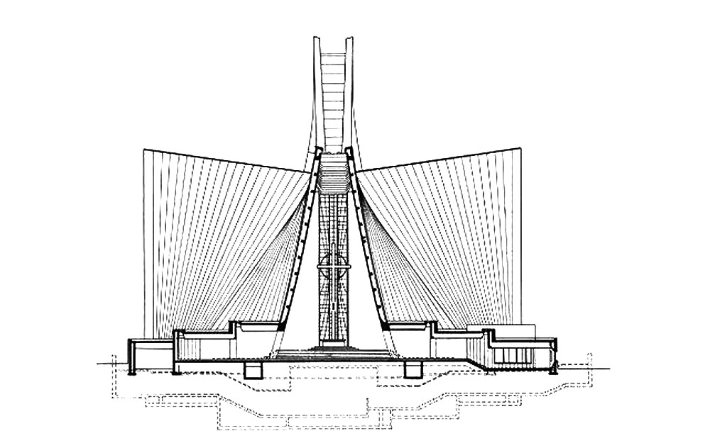 Section of Saint Mary's Cathedral in Tokyo by Kenzo Tange