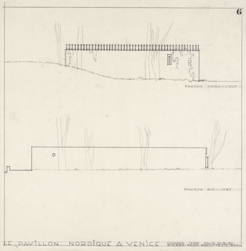 Elevations of the Nordic Pavilion in Venice by Sverre fehn
