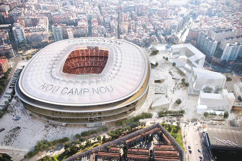 New Camp Nou Stadium Aerial View