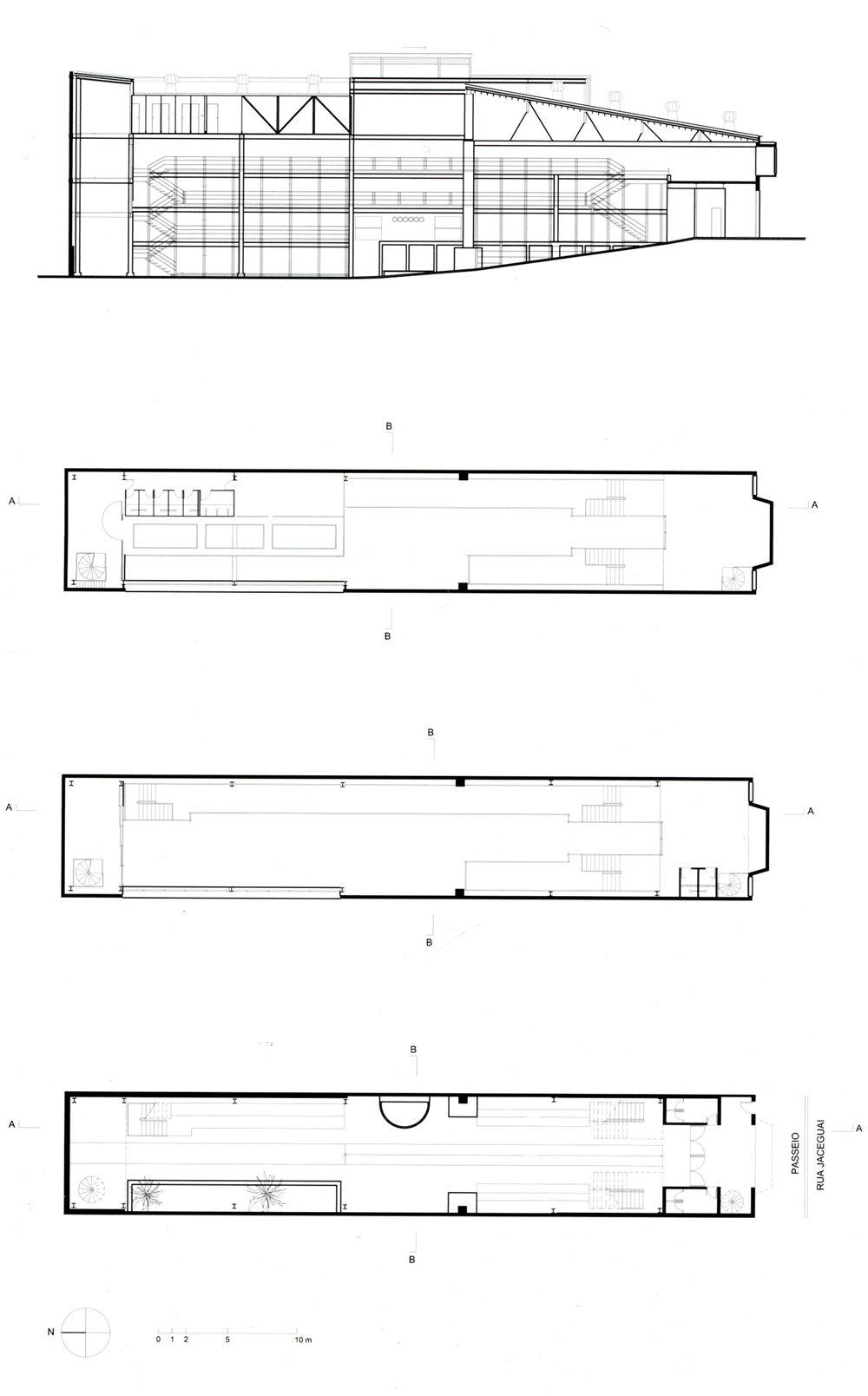 Floor Plans and section of Teatro Oficina / Lina Bo Bardi