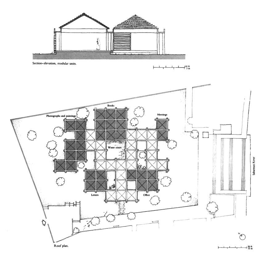 Section of the Sabarmati Ashram Museum (Gandhi Residence) / Charles Correa