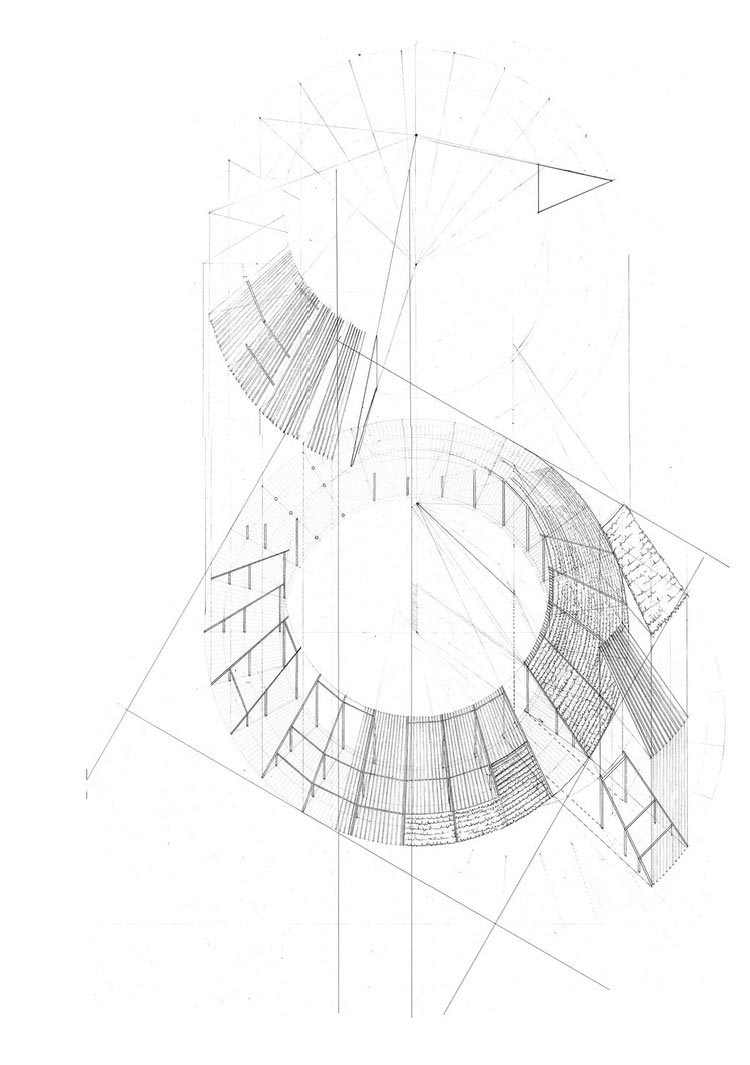 Axonometric View - Shabono: Circular Communal Dwellings in Venezuela