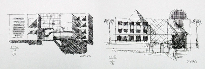Sketches of the MOCA Museum of Contemporary Art by Arata Isozaki
