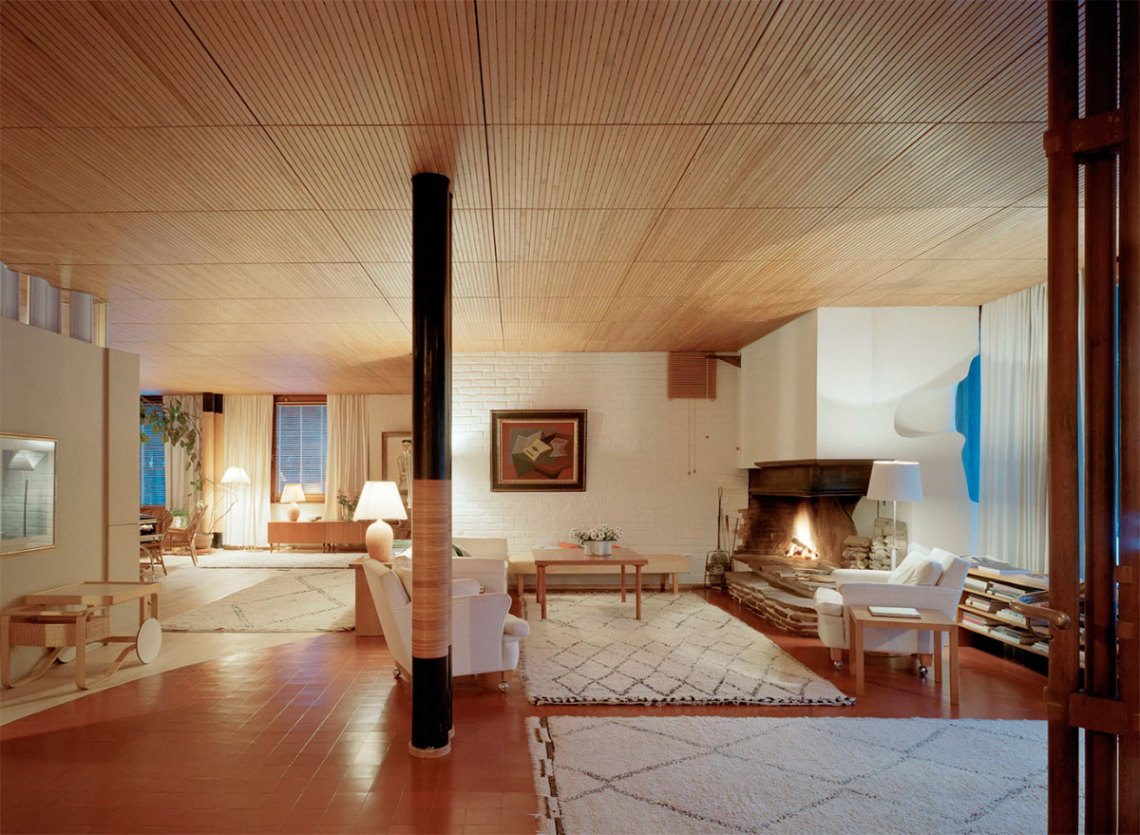 Living room of Villa Mairea by Alvar Aalto