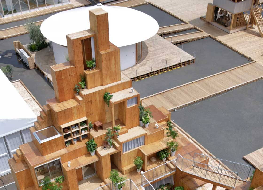 Aerial view of the rentable apartment by Sou Fujimoto
