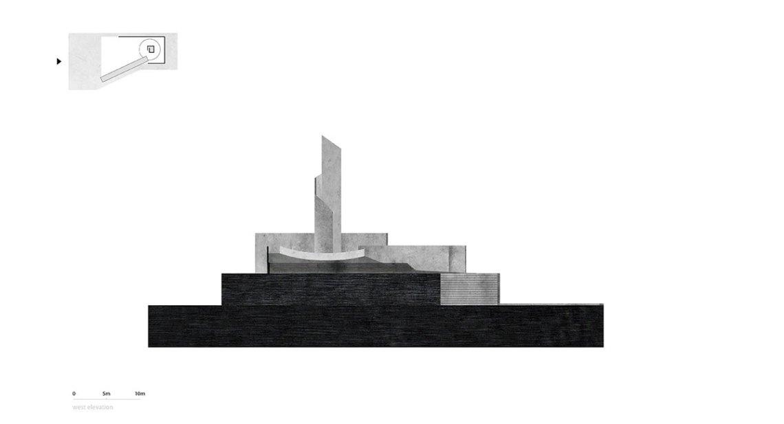 Elevation - Concrete Memorial / West-line-studio
