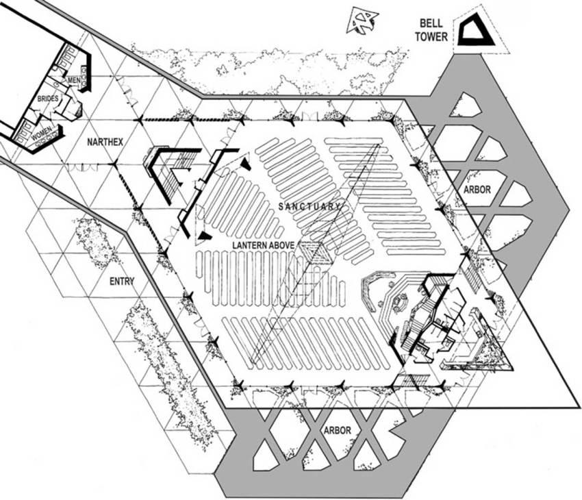 Floor Plan of the First Christian Church in Phoenix by Frank Lloyd Wrigt