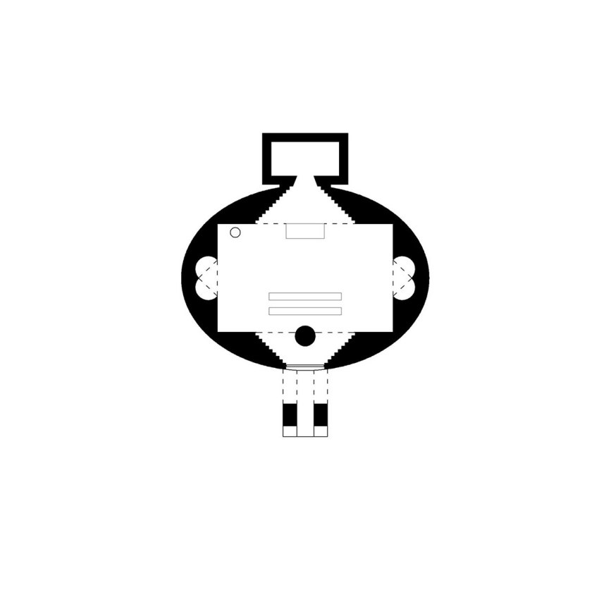 Floor Plan of the San Giovanni Battista Church sketch by Mario Botta
