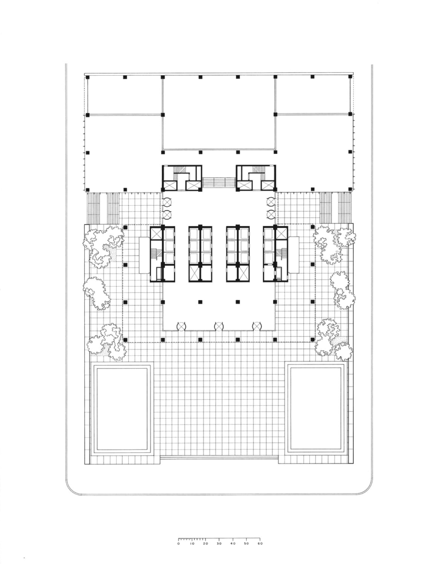 Floor Plan Seagram Building in New york by Mies Van Der Rohe