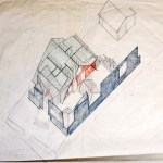 Axonometric of Gehry House Residence in Santa Monica