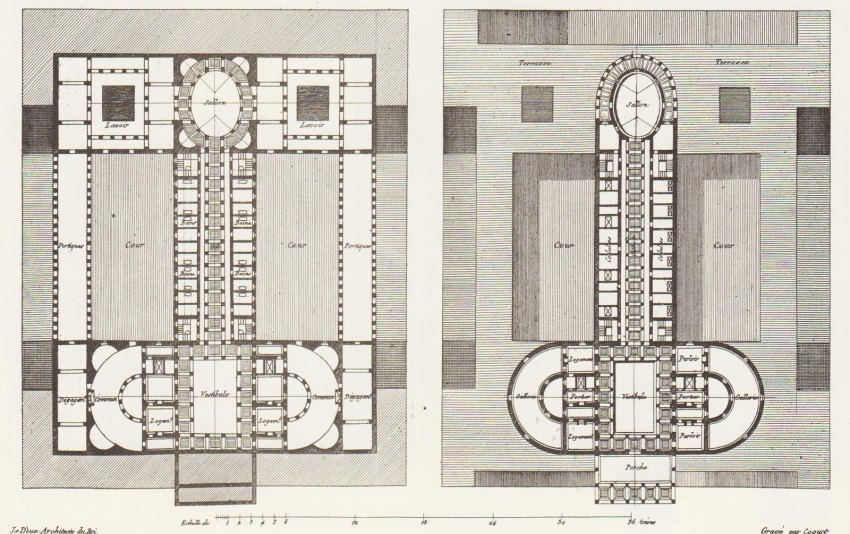 Floor Plans of the Oikema House of Pleasure building by Ledoux