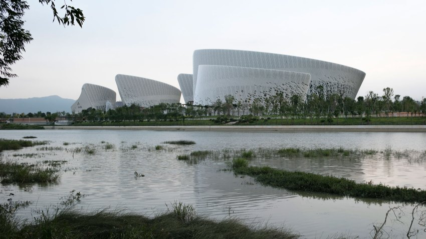 The five main buildings (Jasmine Petals), as seen from the Minjiang River.