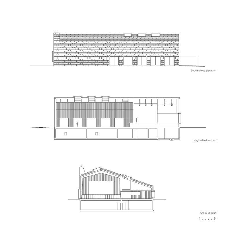 Sections plans - Community building 'La Tuffière' in Corpataux-Magnedens / 2b architectes
