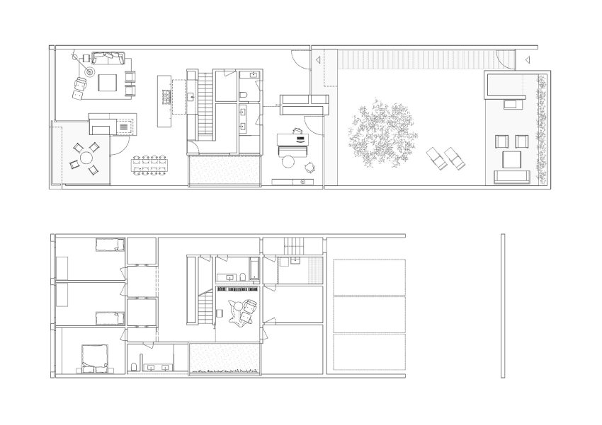 Floor Plan - Five Patio Houses in Meilen / Think Architecture