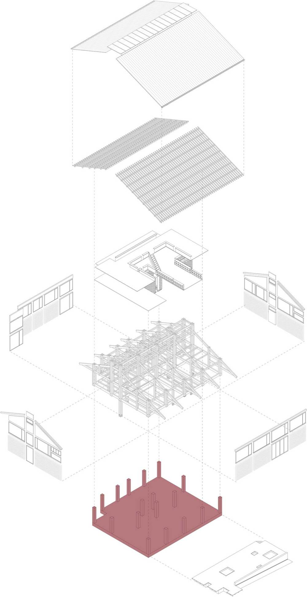 Exploded diagram - Party and Public Service Center of Yuanheguan Village / LUO Studio