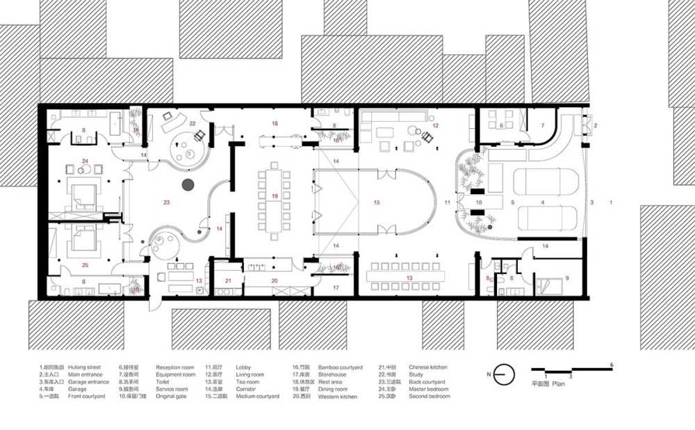 Floor Plan - Qishe Courtyard in Beijing / ARCHSTUDIO