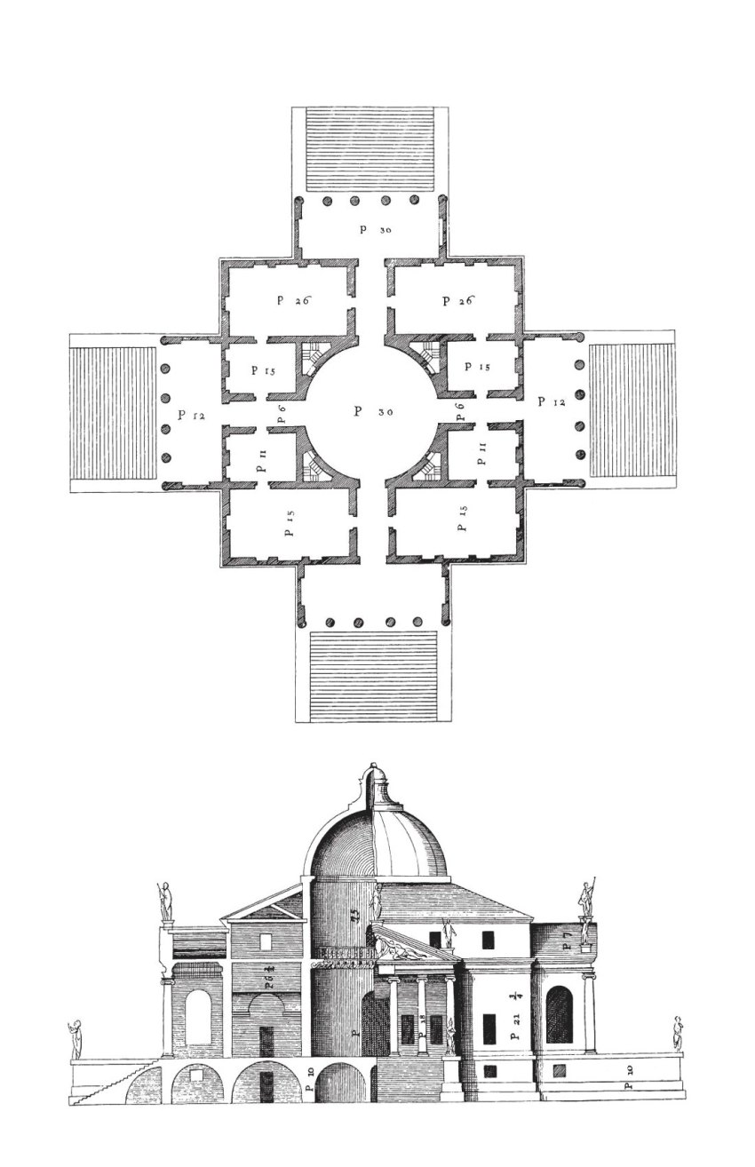 Floor Plan and Section | Villa Rotonda