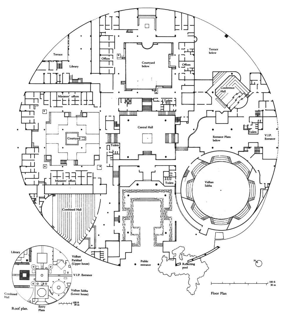 Floor Plan - Vidhan Bhavan State Assembly in Bhopal / Charles Correa