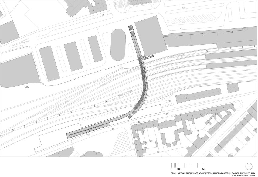 Roof Plan - Footbridge at Angers Saint-Laud TGV Train Station / Dietmar Feichtinger Architectes (DFA)