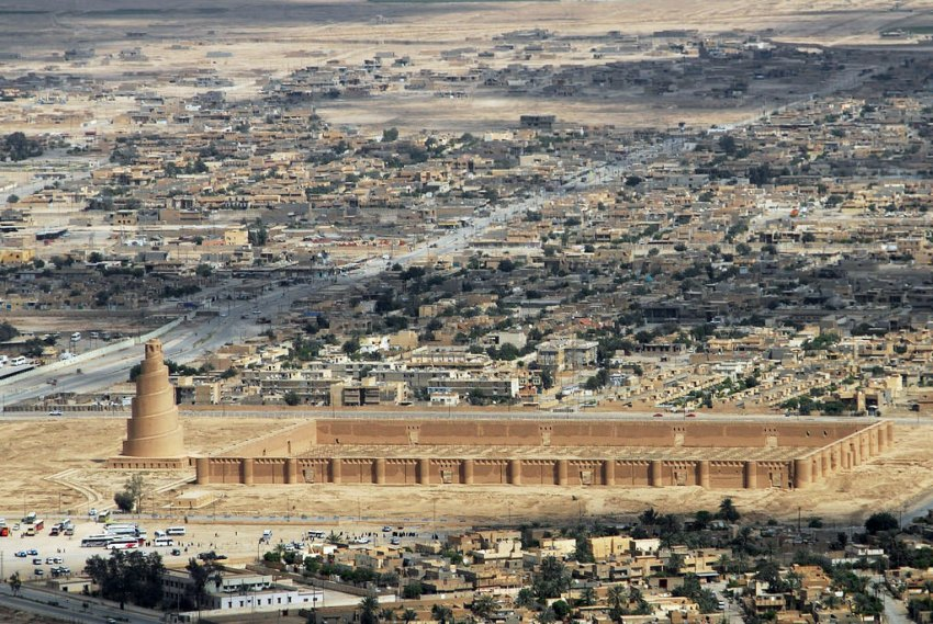 The Great Mosque of Samarra Aerial View with the city context