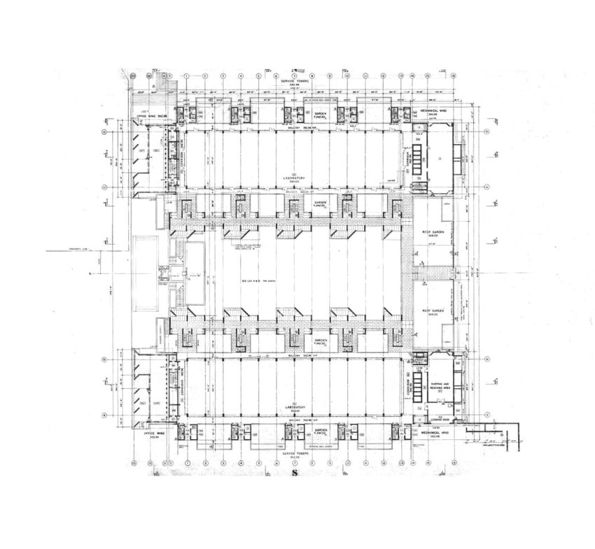 Floor Plan of the Salk Institute for Biological Studies / Louis I. Kahn