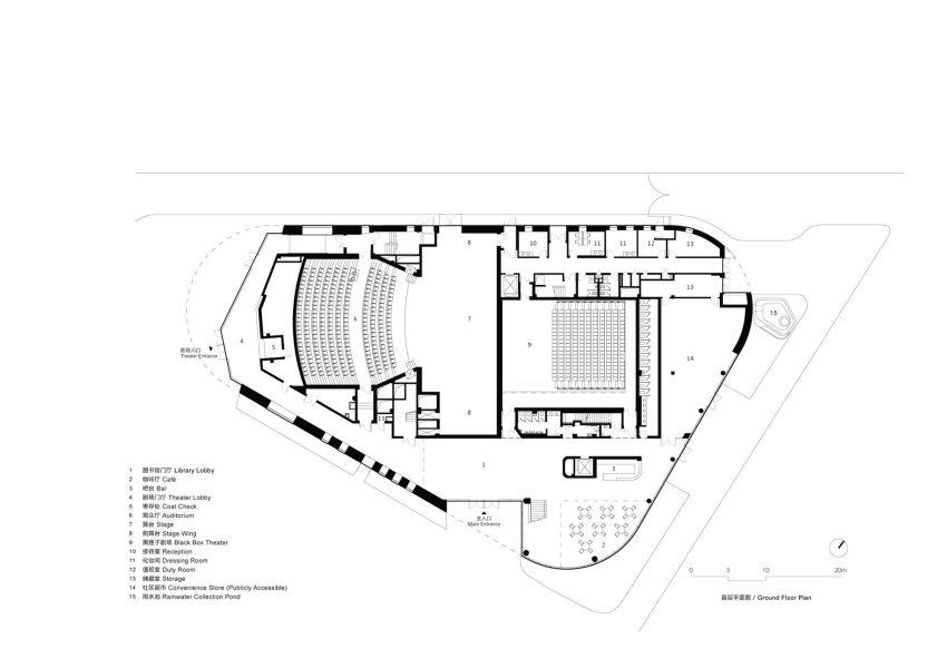 Floor Plan - Pinghe Bibliotheater in Shangai / OPEN Architecture