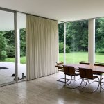 Dining table of the The Farnsworth House / Mies van der Rohe