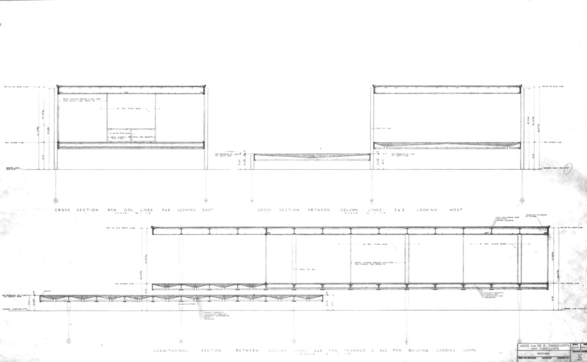 section of the Farnsworth House by Mies Van Der Rohe