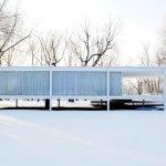 Farnsworth House during winter. Snowed Exterior