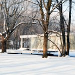 The Farnsworth House during winter times / Mies van der Rohe