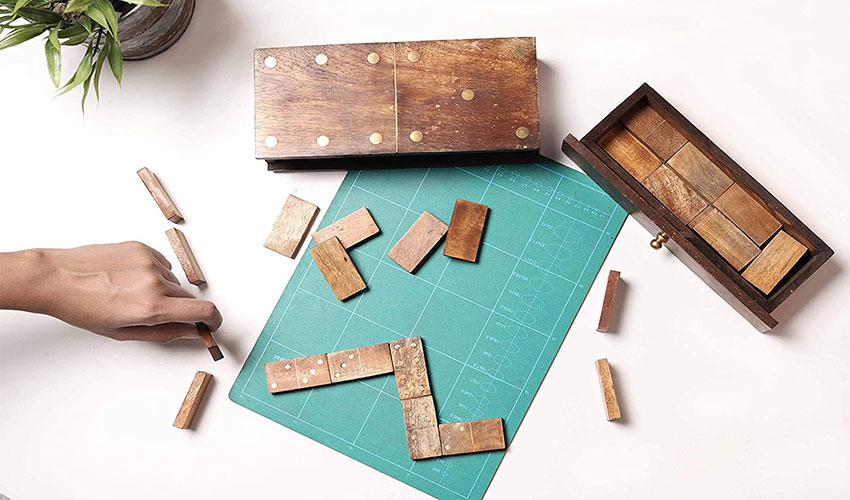 GoCraft Handmade Wooden Dominoes Set   Double Six Professional Size Dominoes Set with Decorative Wooden Storage Box