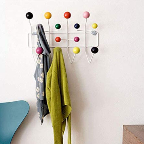 Eames Classic Hang it All Coat Rack, Mid Century Modern Wall Mounted Coat Hooks with Painted Solid Wooden Walnut Balls Wood Color Coat Hanger (Multicolor)