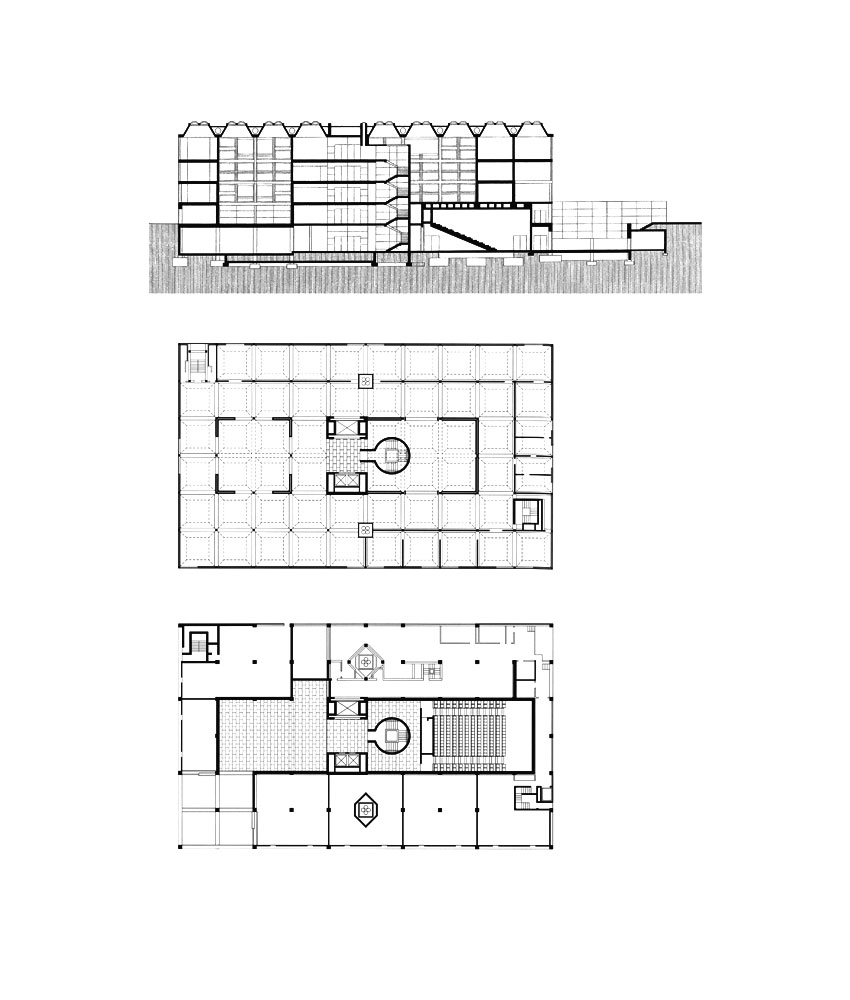 Floor Plan & Section - Yale Center for British Art / Louis Kahn