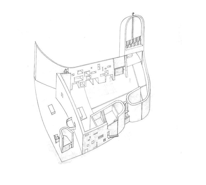 Le Corbusier Axonometric Drawing of Ronchamp chapelle notre dame du haut