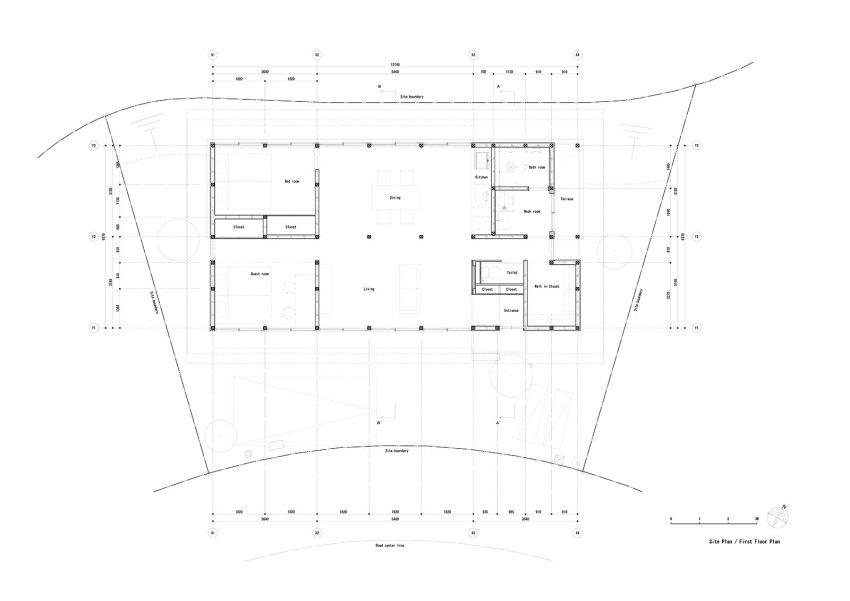 Floor Plan of the House Minohshinmachi Yasuyuki Kitamura ArchEyes