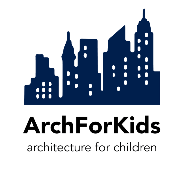 navy skyline outline with the text ArchForKids Architecture for children underneath