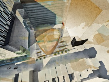 Collage Depicting Amphitheater Building