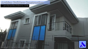2 Storey 2 Bedroom Molo House stainless railing water foundtain pond Blue Minimalist Modern House with pond - Molo, Iloilo